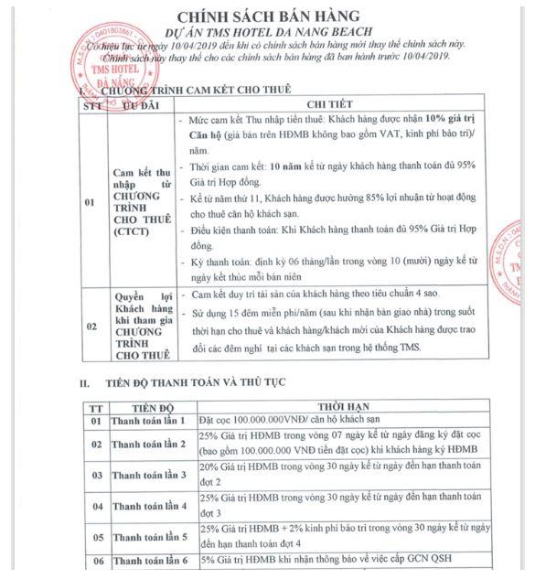 Chính sách thanh toán 2019 căn hộ TMS Hotel Đà nẵng