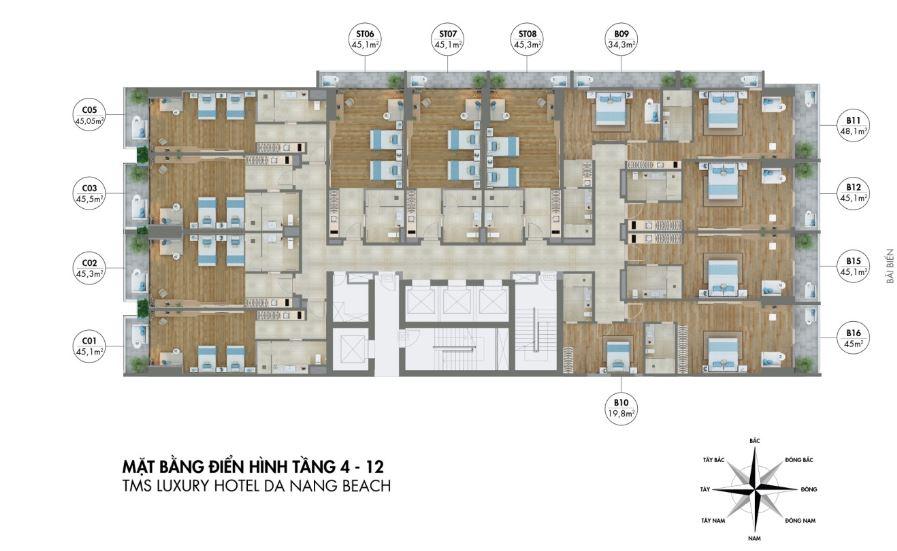 Mặt bằng tầng 4 - 12 dự án căn hộ tms luxury hotel đà đẵng beach