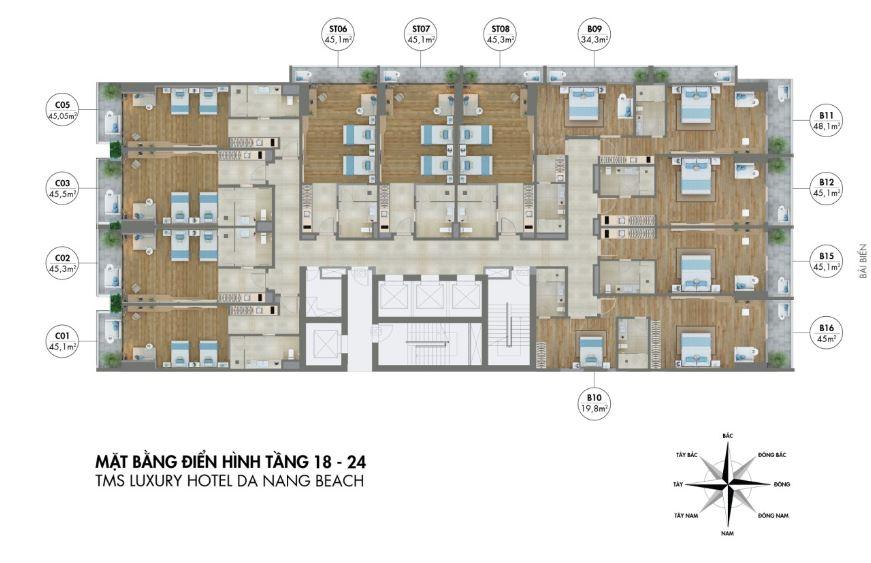 Mặt bằng tầng 18 - 24 dự án căn hộ tms luxury hotel đà đẵng beach