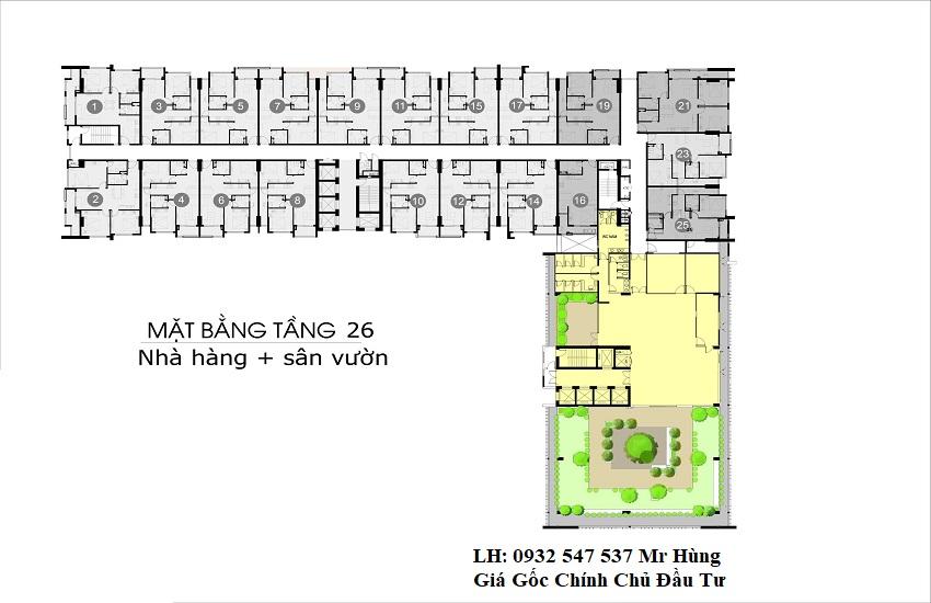Mặt bằng tầng 26 căn hộ monarchy đà nẵng