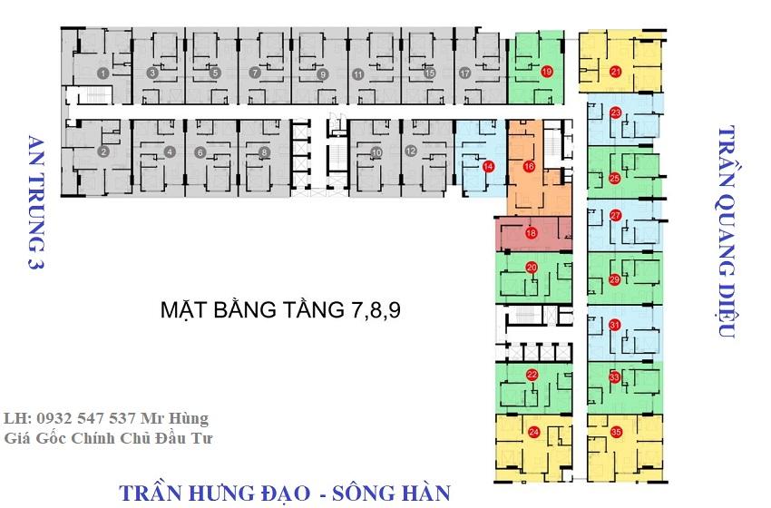 Mặt bằng tầng 7-8-9 căn hộ monarchy đà nẵng