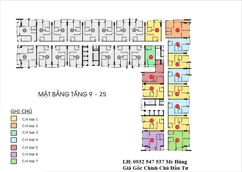 Mặt bằng tầng 9 - 15 căn hộ monarchy đà nẵng