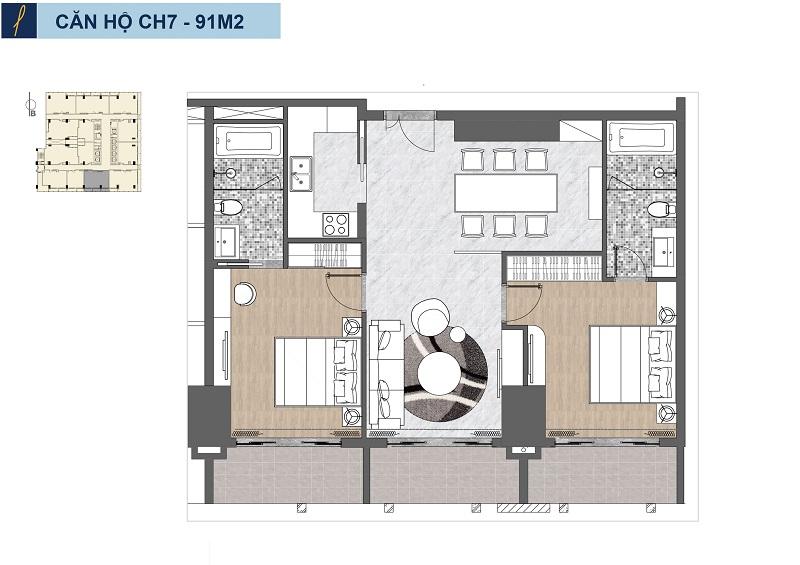 Căn 2 phòng ngủ căn hộ Risemount Apartment đà nẵng