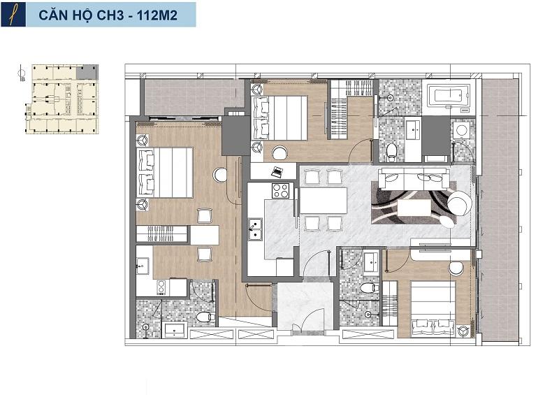 Căn 3 phòng ngủ căn hộ Risemount Apartment đà nẵng