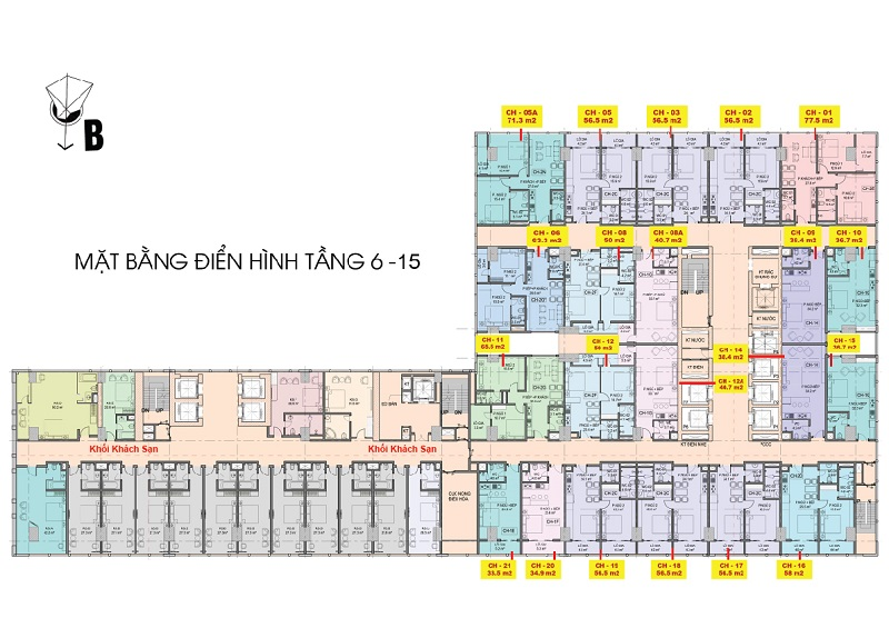 Tổng thể mặt bằng căn hộ premier sky residences tầng 6-15