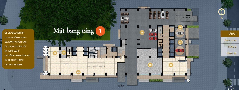 Mặt bằng tầng 1 căn hộ Premier Sky Residences Đà Nẵng