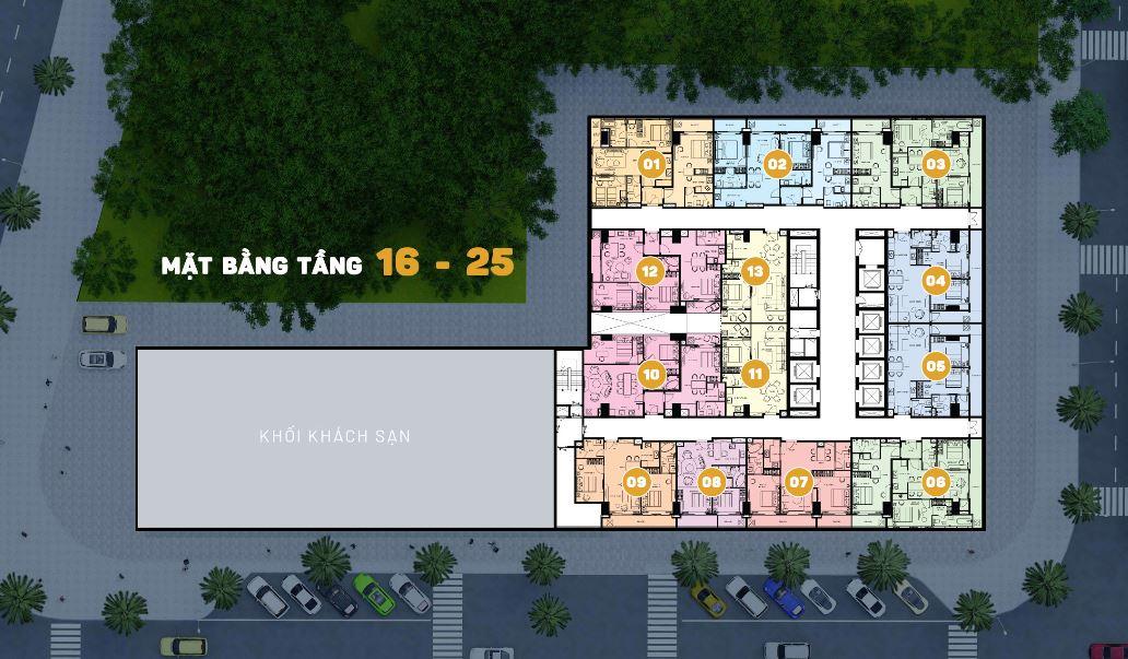 Mặt bằng tầng 16 đến 25 Căn Hộ Premier Sky Residences Đà Nẵng