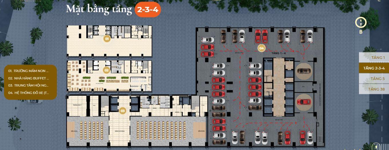 Mặt bằng tầng 2-3-4 căn hộ Premier Sky Residences Đà Nẵng