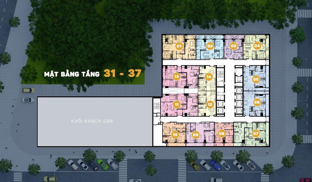 Mặt bằng tầng 31 đến 37 Căn Hộ Premier Sky Residences Đà Nẵng