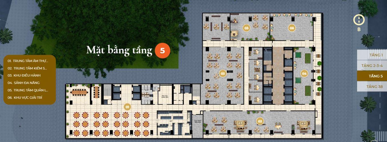 Mặt bằng tầng 5 căn hộ Premier Sky Residences Đà Nẵng