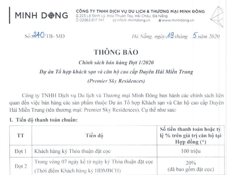 Tiến Độ Thanh Toán Căn Hộ Premier Sky Residences Đà Nẵng