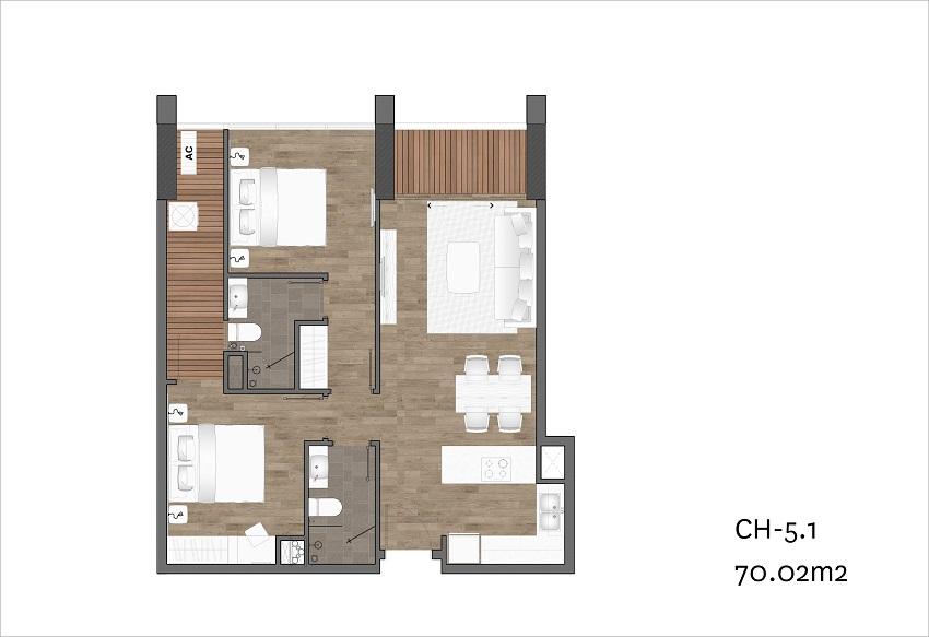 Căn Hộ Risemount Apartment Đà Nẵng 2 phòng ngủ số 02- 05- 08 - 11