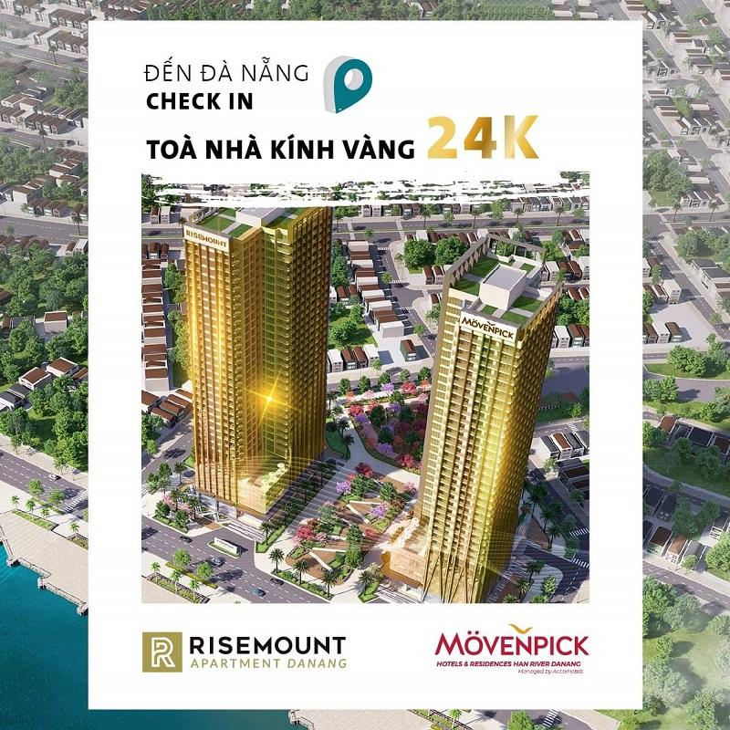 Kính dát vàng 24k Căn hộ Risemount Apartment Đà nẵng