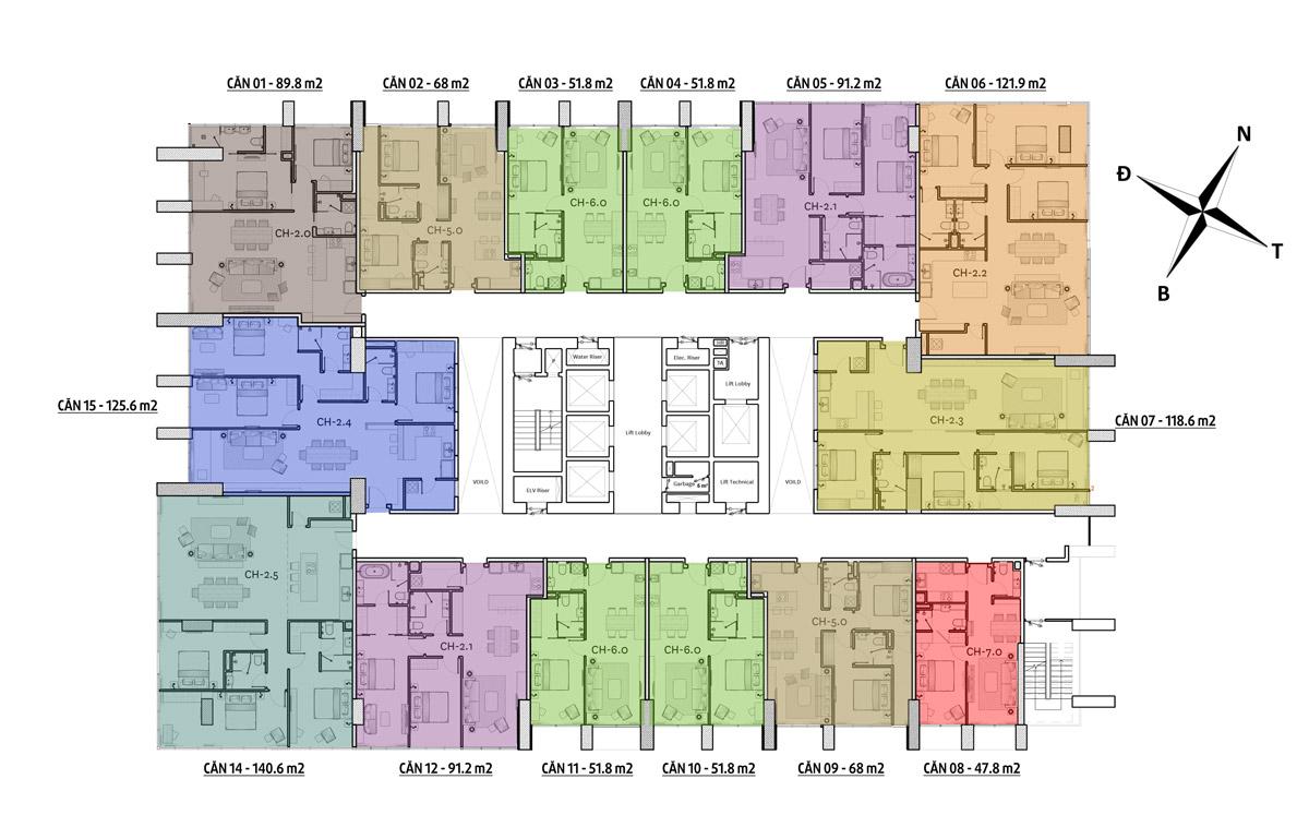 Mặt bằng tầng 3 -4 căn hộ risemount đà nẵng
