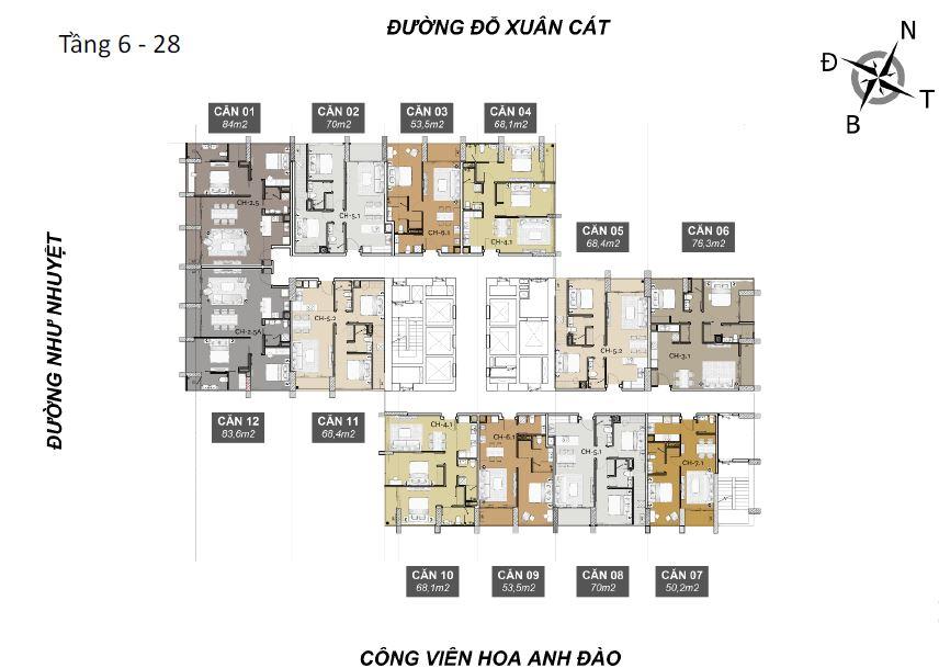 Mặt bằng tầng 6 - 25 căn hộ risemount đà nẵng