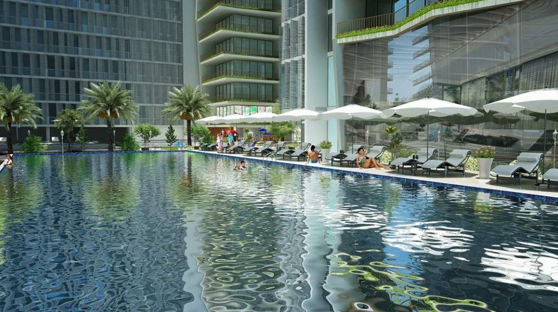 Bể bơi tầng 4 căn hộ wyndham soleil đà nẵng