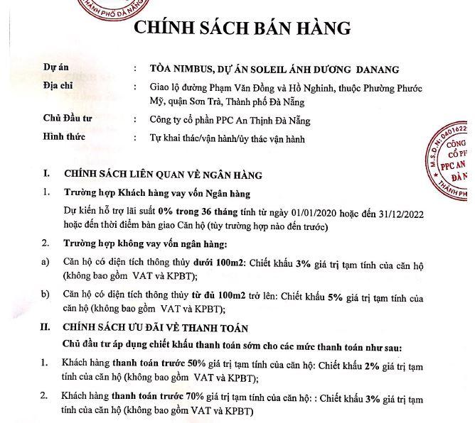 Chính sách bán hàng tòa Nimbus Wyndhma Đà Nẵng