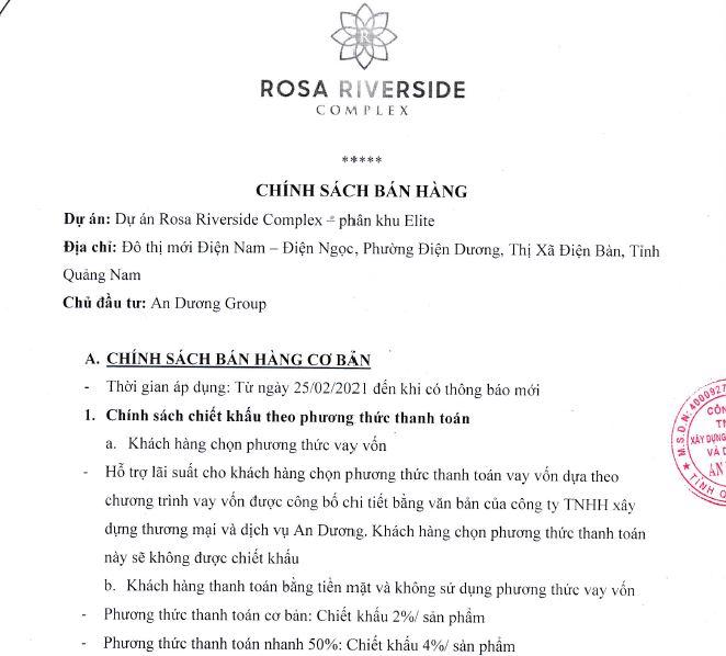 chính sách bán hàng khu đô thị rosa riverside complex đà nẵng hội an