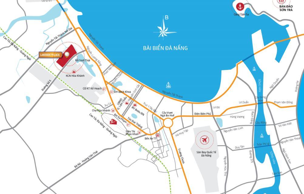 Vị trí Dự án Lakeside Place thành phố đà nẵng